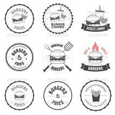 Set of burger and fries restaurant labels, badges #design #vector #eps Download: http://depositphotos.com/20033935/stock-illustration-set-of-burger-and-fries.html?ref=5747528