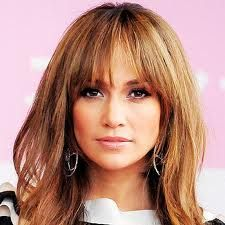 Jennifer Lopez with long hair and bangs