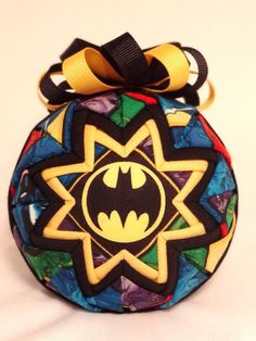 This item is unavailable Quilted Fabric Ornaments, Quilted Christmas Ornaments, Christmas Tree Themes, Christmas Projects, Holiday Crafts, Handmade Ornaments, Fabric Balls, Batman, Bowling