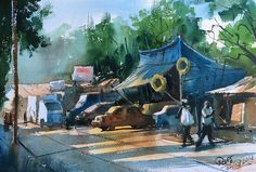 Watercolor painting of JVLR Road, Hiranandani, Powai by Prashant Sarkar. On the spot painting at JVLR Road, Powai Lake. Camlin artist Watercolor and chitrapa. Watercolor Portrait Painting, Watercolor Artists, Watercolour Tutorials, Painting Tutorials, Water Lilies, Plein Air, Spring, Lily, Landscape