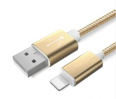 Colourful Nylon Micro USB Cable for Apple and Android Phones – Golden - Apple