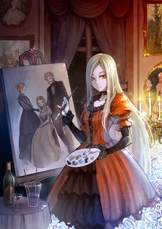 Girl in red dress, painting. Need a character like this