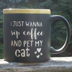 Funny Chalkboard Message Coffee Mug Cup I Just Wanna Sip Coffee and Pet My Cat With Liquid Chalk Marker to add your own message. This is a 22 oz. black chalkboard coffee mug with our own design sandblasted into this quality cup (color of top ring may vary from photo). Humorous message will bring a smile to their face even if they are not a morning person! With each coffee cup we include a liquid chalk marker so that you may add a personal message of your own. It wipes off clean with a…