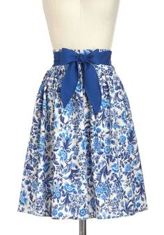 Designer Dreams Skirt in Floral - Blue, Tan / Cream, Floral, A-line, Cotton, Mid-length, Belted, Work, Casual, Daytime Party, Fairytale  $57.99