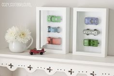 A great way to display gorgeous vintage cars - how delightful would these look on your little boy's bedroom walls? #littleboysbedroom #vintagecars #giftsforkids