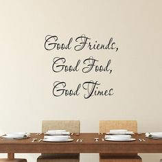 Shop Kitchen Wall Quotes Decals at VWAQ. Whether looking for dining room decals or kitchen wall art, VWAQ has your kitchen in mind. Kitchen Wall Quotes, Kitchen Wall Decals, Nursery Wall Decals, Kitchen Decor, Kitchen Design, Wall Stickers Quotes, Vinyl Wall Quotes, Vinyl Wall Decals, Time With Friends Quotes