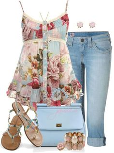 """""""Ruffled Floral Babydoll Top & Cuffed Capris"""" by jaimie-a ❤ liked on… Look Fashion, Fashion Outfits, Womens Fashion, Fashion Trends, Gypsy Fashion, Fashion Music, Spring Summer Fashion, Spring Outfits, Mode Jeans"""
