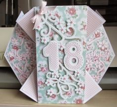 This is the card I have designed for my middle granddaughter's birthday next month. It was a bit fiddly to assemble and I foun. Special Birthday Cards, 18th Birthday Cards, Handmade Birthday Cards, Greeting Cards Handmade, Birthday Wishes, Card Making Templates, Card Making Tutorials, Making Ideas, Tri Fold Cards