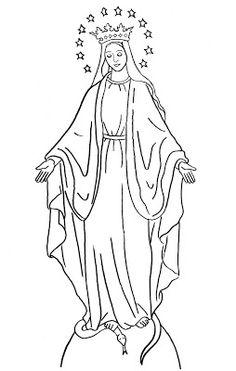 Dibujo Para Colorear La Virgen De La Medalla Milagrosa W