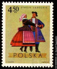 POLAND - CIRCA 1969: A stamp printed in Poland shows polish folk dancers in costumes from Sadecki...
