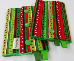 Baby Carrier Teething Pads, Drool Pads, Strap Wraps - holiday stripes - Reversible/Water Resistant - 1 pair - for Ergo, Beco, Bjorn, Snugli