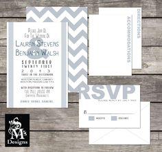 Modern Chevron Wedding Invitation Set
