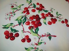 SALE - Vintage Cherries linen tablecloth, table cloth, possibly Wilendur. Fabric Paper, Linen Fabric, Cotton Linen, Vintage Tablecloths, Linen Tablecloth, Kitchen Placemats, Cherries Jubilee, Fourth Of July, Hand Towels