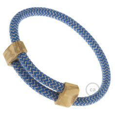 Canvas & Blue ZigZag Bracelet with Olive Wood Fastener