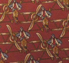 Salvatore Ferragamo Tie Pure Silk Novelty Aviator Aeroplane Pattern Red Vintage Designer Dress Necktie Made In Italy by InPersona on Etsy
