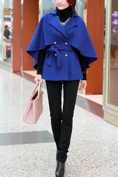 OASAP - Double Breasted Belted Worsted Cape Coat - Street Fashion Store
