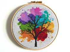 Rainbow Tree Cross stitch pattern Watercolor Counted chart Set #rainbow