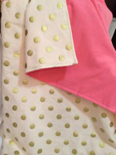 Gold Baby Blanket Flannel Baby Blanket Gold Polka by DwellDarling, $30.00