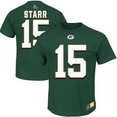 Bart Starr Green Bay Packers Majestic Eligible Receiver II Name and Number T-Shirt - Green