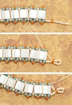 Beaded Jewelry First End Loop Stitched - © Chris Franchetti Michaels - Use ladder stitch and two-hole Tila beads to stitch a single row bracelet of Tilas with bright seed bead edging perfect for layering. Beaded Braclets, Beaded Bracelets Tutorial, Beaded Bracelet Patterns, Seed Bead Bracelets, Beading Patterns, Beaded Earrings, Bracelet Designs, Friendship Bracelets, Bead Jewellery