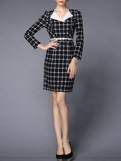 Plaid Sheath Midi Dress