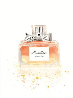 Christian Dior Miss Dior Parfum Fragrance - Watercolor Perfume bottle illustration