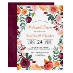 Marsala Pink Botanical Rehearsal Dinner Card - wedding invitations diy cyo special idea personalize card