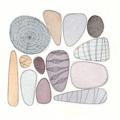 Pebbles Original watercolour painting inches by FrancescaLancisi, $85.00