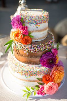 60 Elegant And Beautiful Wedding Cakes You'll Like – Page 44 of 60 – Beautiful Wedding Cake Designs Floral Wedding Cakes, Wedding Cake Designs, Wedding Cupcakes, Wedding Cake Toppers, Floral Cake, Cake Wedding, Colourful Wedding Cake, Dress Wedding, Sprinkle Wedding Cakes