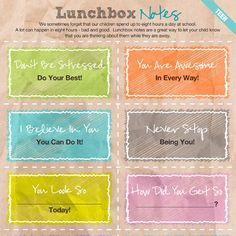 Lunchbox notes are a great way to let your child know that you are thinking about them while they are away.