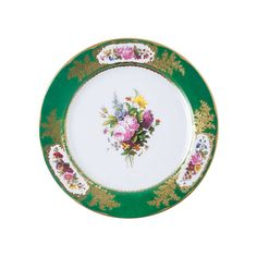 """Vintage inspired, our beautiful 10"""" tin plate is not only functional, it's nostalgia-inducing. Chances are, your grandma had something similar to this. They're perfect for hanging or serving, or sittin...  Find the Flowers on Green Tin Plate Décor, as seen in the Shabby Chic Collection at http://dotandbo.com/collections/shabby-chic?utm_source=pinterest&utm_medium=organic&db_sku=102454"""
