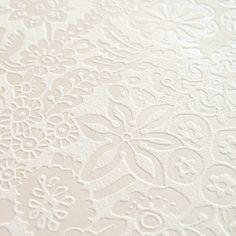 Vliestapete \'3D-Blumen\' perlmutt/cremeweiß