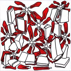 books and flowers [2012] edding markers on canvas