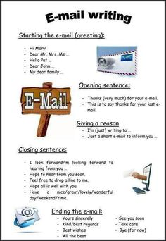 How to Write an Email in English Email Writing, Teaching Writing, Writing Activities, Writing Tips, Teaching Computer Skills, Business Writing Skills, Teaching Computers, Ielts Writing, English Phrases