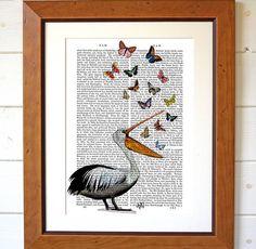 Pelican And Butterflies Dictionary Print from notonthehighstreet.com