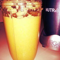 1 orange 1 banana 1c sliced mango 1/2c oats 1c almond milk ~~ breakfast of champs!!
