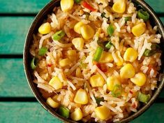 Sweet Corn Schezwan Fried Rice Recipe with stepwise photos. Spicy and tasty rice dish made with sweet corn, capsicum rice and herbs. a vegan recipe. Rice And Corn Recipe, Cooked Rice Recipes, Rice With Corn, Leftover Rice Recipes, Spicy Recipes, Cooking Recipes, Biryani Rice Recipe, Veg Biryani, Healthy Rice