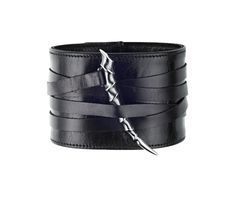 Black Leather & Oxidised Silver Horn Wide Bracelet by Shaun Leane. £233.34 (Excludes VAT)