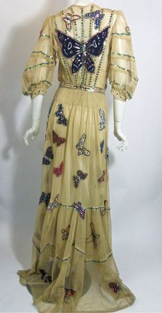 """930s silk underdress. A gown worn for stage in the early 1900s and teens, in superb, sturdy condition. Click pictures for more images.   36"""" bust, 28"""" waist, 42"""" hips, 17"""" bodice, 18"""" sleeves, 59"""" long    $1400"""