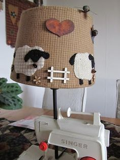 . Lampshade Redo, Primitive Stitchery, Patch Aplique, Quilting Room, House Quilts, Reuse Recycle, Love Sewing, Applique Quilts, Lamp Shades