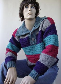 This men's cotton crochet pullover by Etsy's toivima has color details that are unique to see in men's sweaters.