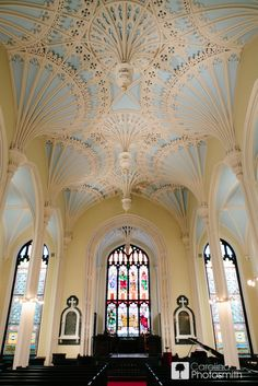 blue ceiling of Unitarian Church for your #wedding day #charleston carolinaphotosmith.com