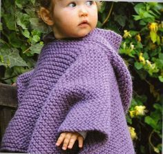 A poncho is a superb way to keep baby feeling cozy and looking stylish! Knitting For Kids, Crochet For Kids, Knitting Projects, Crochet Baby, Knit Crochet, Crochet Poncho Patterns, Knitted Poncho, Baby Knitting Patterns, Baby Patterns