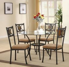 Dining Table With Glass Top Metal Legs And 4 Metal High Back Chairs