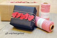 DIY: gift wrap heart garland that is very cute!!!!!