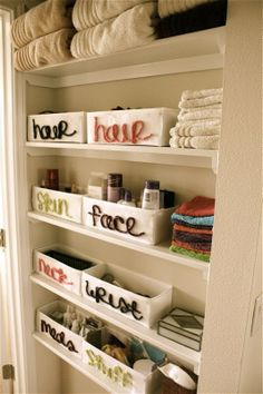 DIY labeling and categorizing your needs so they are not all shoved. Cute and organized.