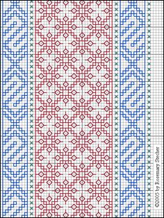 Linen fragment with red silk trellis pattern, blue borders, and separator lines of spaced cross stitch in turquoise  Mamluk Egypt, 13th-14th century