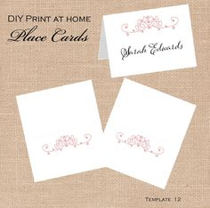 items similar to printable wedding place card templates diy print at home products mini escort cards candy tags coral on etsy