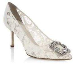Carrie Bradshaw inspired Manolo Blahnik lace pumps are perfect for both the conservative bride and the bride looking for a little sparkle. Shop the look for your wedding day by clicking the picture! Groomsmen Shoes, Groom Shoes, Manolo Blahnik Hangisi, Wedding Boots, Wedding Heels, Wedding Ring, Lace Wedding, Lace Pumps, Sparkly Shoes