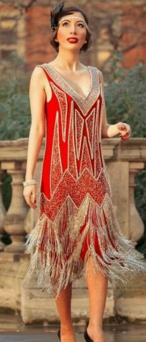 Red fringe 1920s style flapper dress, with beading. Would be a great base for the Harley Quinn 20s look.